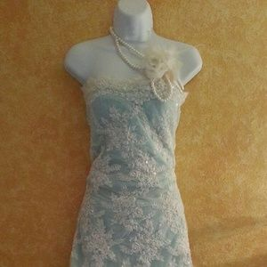 Ivory & Blue Lace Strapless Sheath Wedding Gown